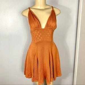 For Love and Lemons Rust Knit Mini Halter Dress